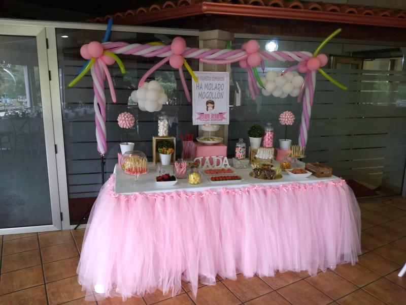 Mesa dulce tutú rosa