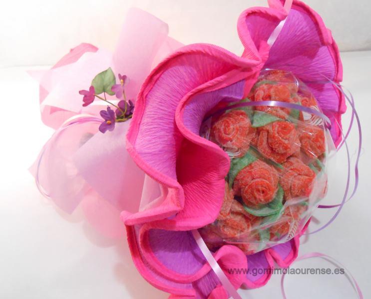 Ramo flores gominola redondo rosa